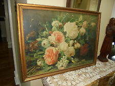 Vintage Jean Baptiste Robie Bouquet Of Roses Print Bird`~  Bee ~ Floral Delight