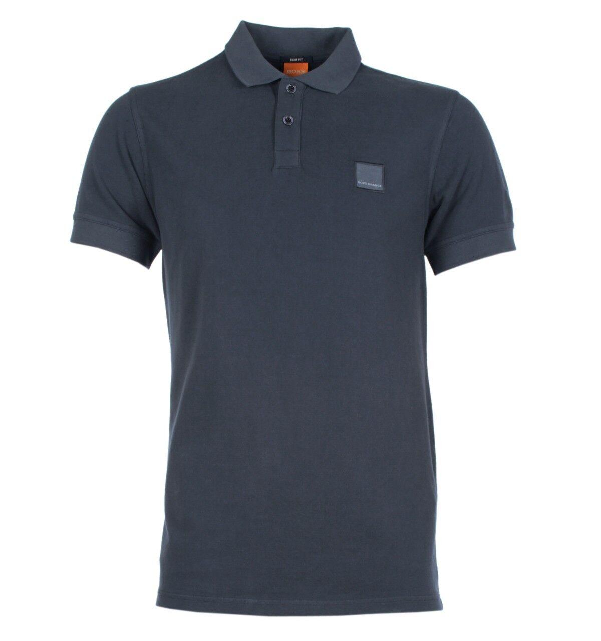 BOSS orange Pascha Dark Grey Slim Fit Pique Polo Shirt