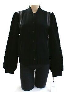 Ugg-Australia-Black-Wool-Lamb-Sherpa-amp-Leather-Bomber-Jacket-Women-039-s-NWT