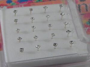 1 scatola 20 orecchini da naso in argento 925 sterling brillantini bianchi 2 mm