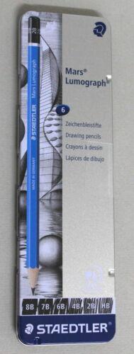 6 Pack Staedtler Mars Lumograph Sketch//Drawing Pencils New