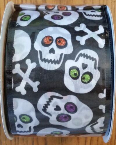 """2 1//2/"""" X 3 Yd Halloween-Crânes-Les yeux doux-Filaire Ruban-U Choisissez environ 2.74 m"""