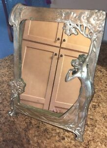 Vintage Brass Lady Mirror Art Nouveau Style Vanity Tabletop With Stand