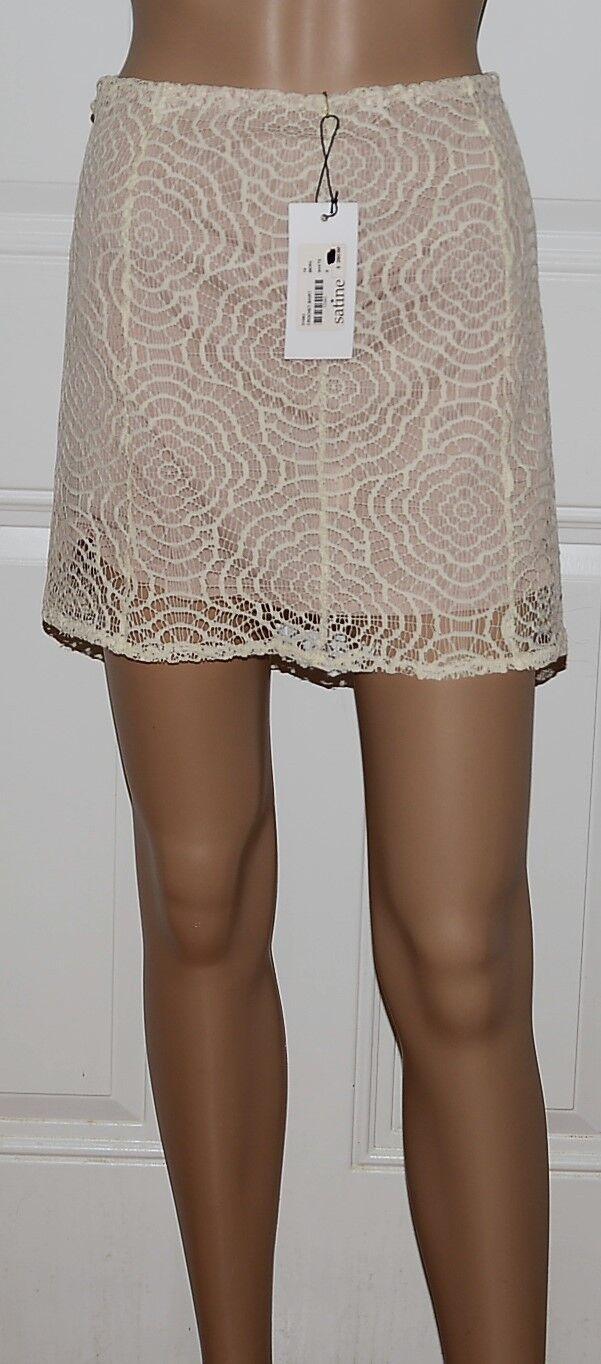 250 Kelly Bergin Crochet White micro Mini Skirt New NWT 6 stretch lace
