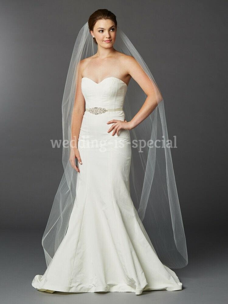 High Quality Nude Soft Bridal Wedding Veil 1 Tier Floor Cut Edge 78'' UK