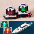 2x Red Green 6cm 12V Stainless Steel Marine Boat LED Yacht Bow Navigation Light