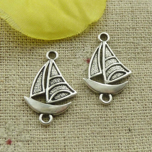Free Ship 180 pieces tibetan silver sailing boat connectors 23x15mm L-4878
