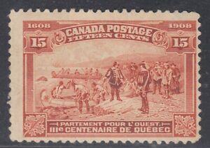 Canada-MINT-OG-Scott-102-15c-Champlain-039-s-Departure-034-Quebec-Tercentenary-034