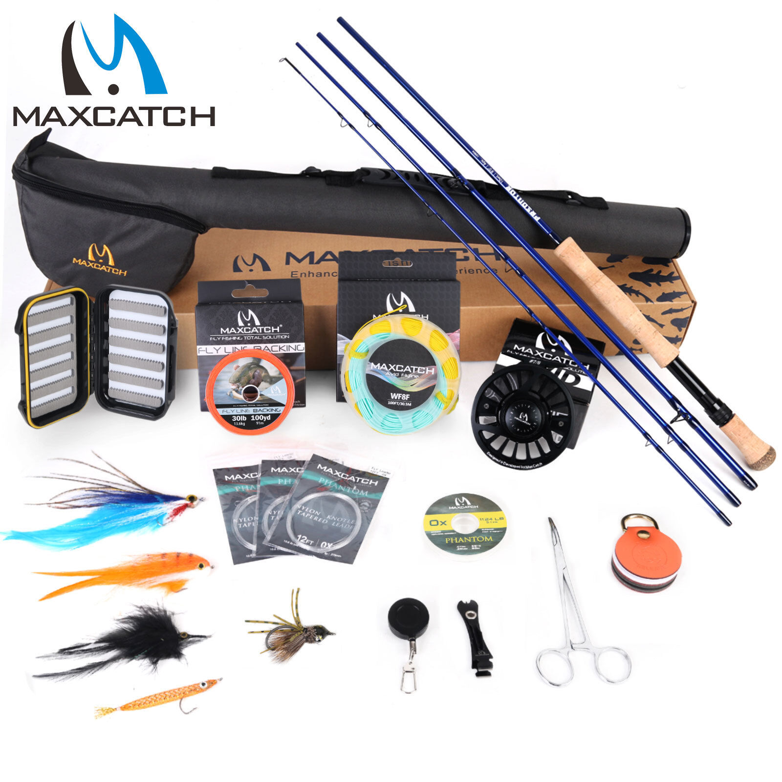 Maxcatch Saltwater Fly Rod and Reel Combo  Full Kit 9FT Fishing Complete Outfit  wholesale cheap