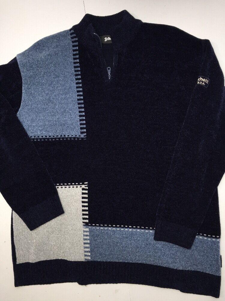SAH Schott Bros bluee Sweater L Knit Long Sleeve 1 8 Zip Wool Blend EUC