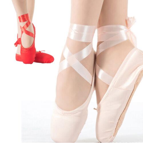 BallettSchuhe Ballerina Tanz Spitzenschuhe Turnschuhe Kinder Damen mit Band Rosa