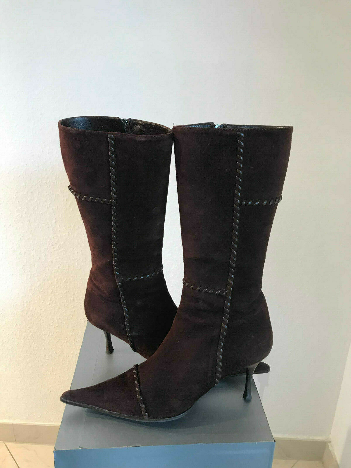 Designer Damen Stiefel Sergio Rossi Gr. 39 dunkel brau Veloursleder