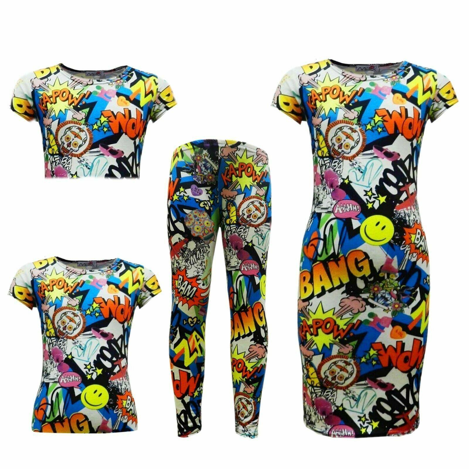 Womens Ladies Comic Cartoon Bang Zap Neon Floral Print Short Sleeves Crop Tops