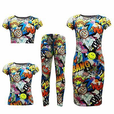 NEW KIDS GIRLS GRAFFITI SCRIBBLE MIDI DRESS//CROP TOP//SKATER SKIRT//LEGGING 7-13