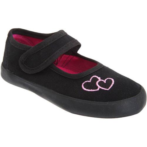 Mirak Girls Bar Heart Embroidered Plimsoll Sneaker Shoe Black