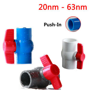 20/25/32/40/50/63mm Push-in PVC Plastic Ball Valve Sleeve Adhesive Pipe Fittings