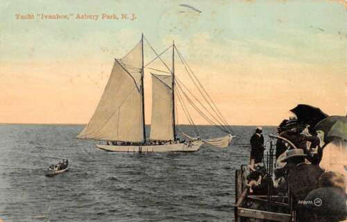 Asbury Park New Jersey Yacht Ivanhoe Sail Boat Antique Postcard K89100