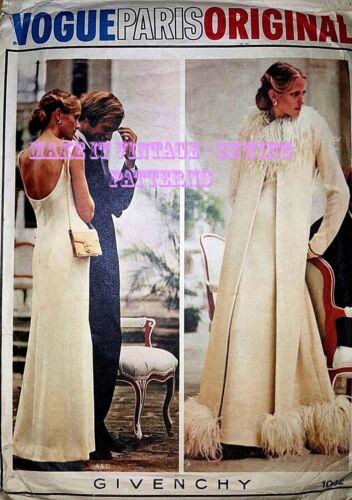 VINTAGE Années 70 VOGUE original 1042 mariage soirée robe de bal Manteau Sew Pattern B38