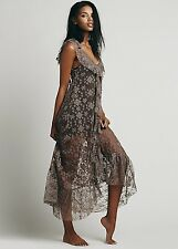 NEW Free People IFP mute purple Sheer Lace Embroidered Ruffle Maxi Slip Dress S