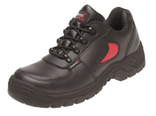 Toesavers 3413 Mens Leather Safety Trainer In Black /& Red