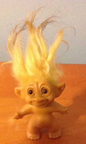 1960's Vintage Troll Unmarked all Original Eyes & Yellow Hairblack tips