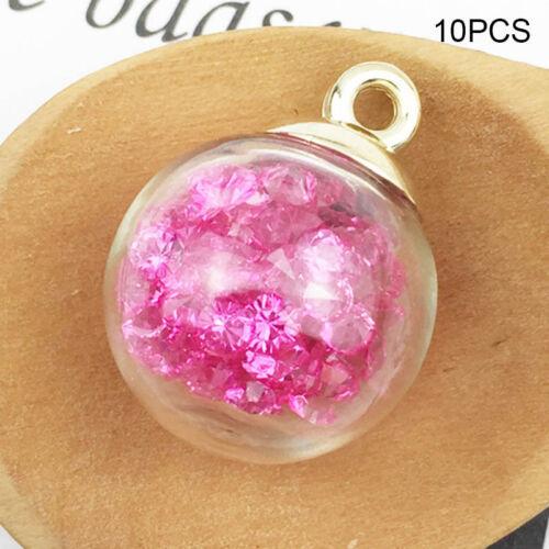 10Pcs Navidad Adornos joyería pendientes de bolas de cristal vidrio collar hágalo usted mismo Making
