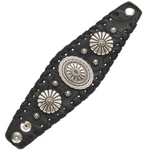 American-West-Handmade-Tooled-Leather-Cuff-Bracelet-2-5-034-Oval-Concho