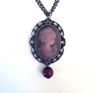Victorian Gothic Lolita Goth 80s 90s Pink Purple Cameo Pendant Chain Necklace