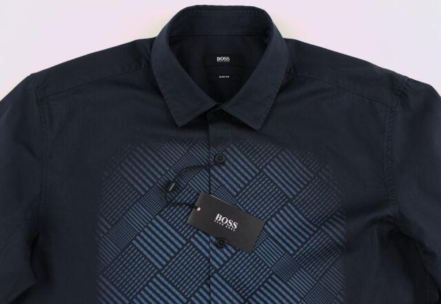 Men's HUGO BOSS Black Blue Geometric Shirt L Large NWT NEW $195+ Slim Fit NEMOS