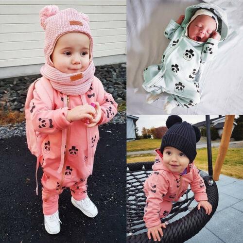 Infant Baby Girl Boy Toddler Hooded Romper Jumpsuit Cartoon Panda Zipper Outfits