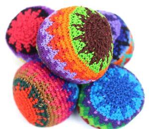 Set of 5 Rainbow hacky sacks hand made in Guatemala juggling balls footbag magic