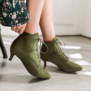 b3e735d7aa9b Women s Lace up Faux Suede Mid Heel Ankle Boots Walking Shoes UK ...