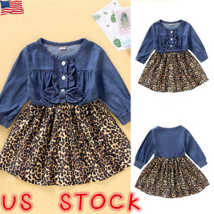 Toddler-Girls-Leopard-Print-Denim-Dress-Kids-Baby-Princess-Party-Skirt-Clothes