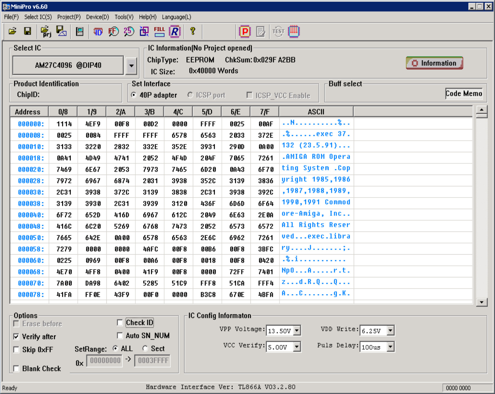 TL866 27C400 Prog Adapter Read//Write Amiga Kickstart ROMs GGLABS E2R16 PCB