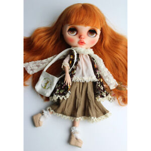 White Sleeveless Dress with Lace Collar for 12/'/' Blythe Dolls Clothes Accs