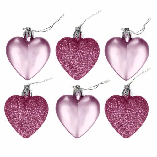 Luxury Christmas Tree Ball Xmas Baubles Decoration Glitter Hearts 6cm x 12pc