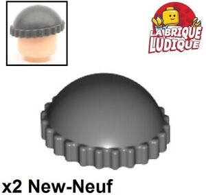 Lego-2x-Minifig-headgear-hat-chapeau-bonnet-gris-fonce-dark-b-gray-41334-NEUF