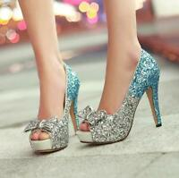 Womens High Heels Open Toe Glitter Bling Ladies Wedding Shoes Bowknot Pump Shoes