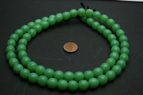 Strang 64 cm Cycle Boules Vert Jade Séquoia perles de verre 10 mm