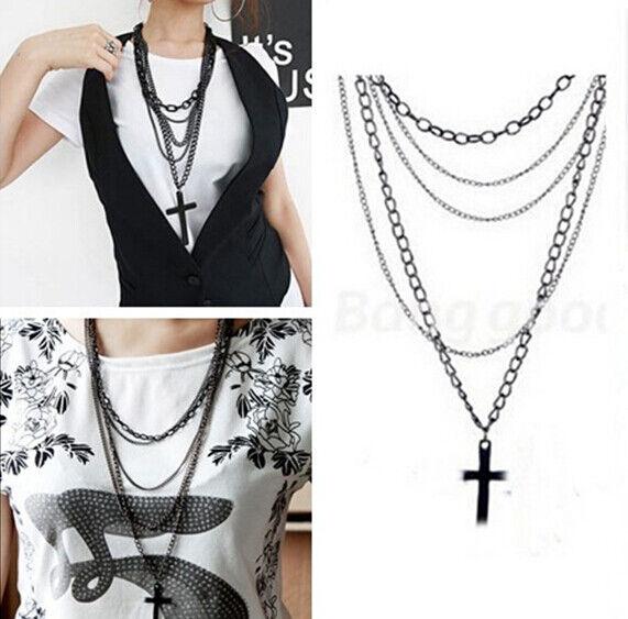 Cool Punk Cross Design Pendant Multi-layers Long Chain Sweater Necklace Woman
