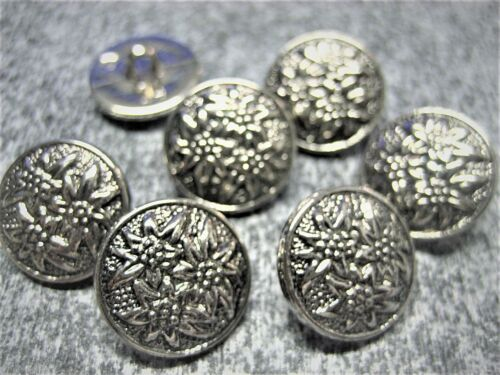 plata Trachten botones 3er Edelweiss 15mm-TRACHTEN botón 7 bonitos