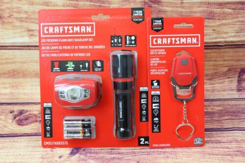 Craftsman LED Focusing Flashlight and Headlamp Set 250 lumens and  LED key chain