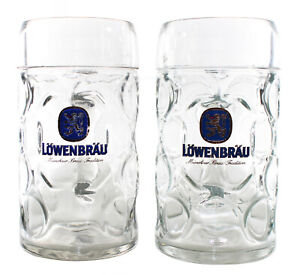 2x-original-LOWENBRAU-Masskrug-Glas-1-Liter-Bier-Oktoberfest-Set