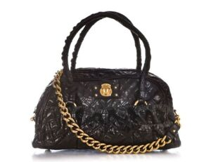 MARC JACOBS Julianne Stam Quilted Leather Black Shoulder Gold Chain Bag