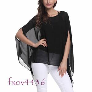 Oversize-Women-Summer-Solid-Batwing-Sleeve-Top-Chiffon-Poncho-Casual-Loose-Shirt