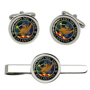 Ballantyne-Scottish-Clan-Cufflinks-and-Tie-Clip-Set