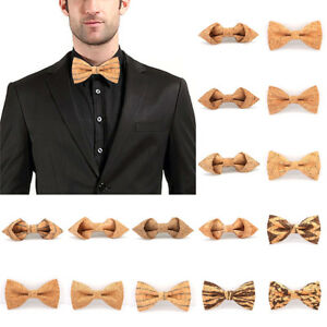 Wooden-Bow-Tie-Novelty-Cork-Handmade-Solid-Bowtie-Men-039-s-Wedding-Party-Neckwear