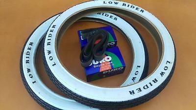 New Lowrider Bicycle BMX Brick White Wall Tires /& Tubes 16x1.75 Set