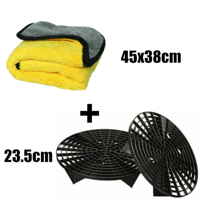 1PCS 45x38cm Thick  Microfibre Cleaning Cloth + 2PCS 23.5cm Car Wash Grit Guard