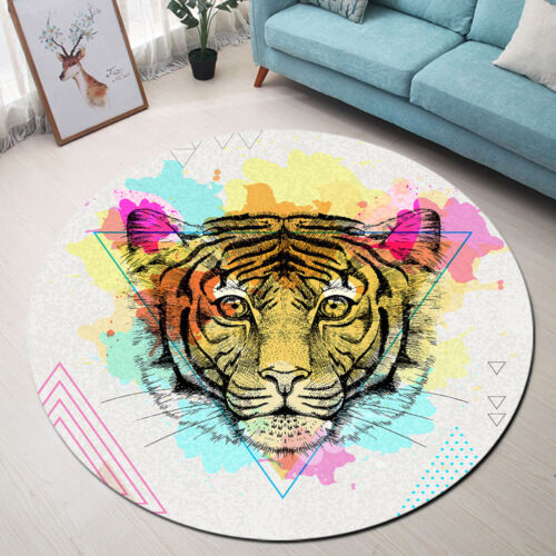 Various Colorful Wild Animals Pattern Round Floor Mat Living Room Area Rugs Soft